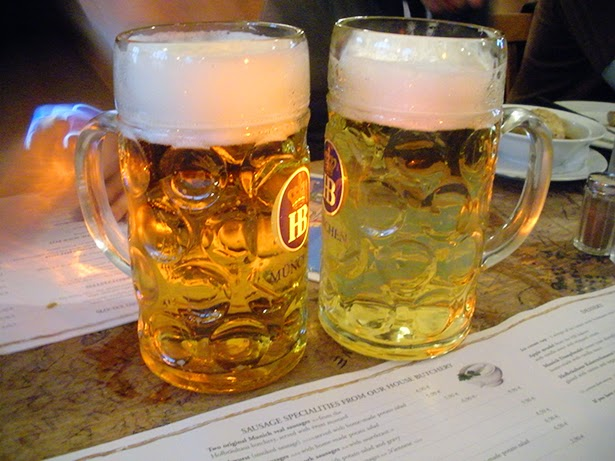 Liter beers at Hofbrauhaus in Munich, Germany