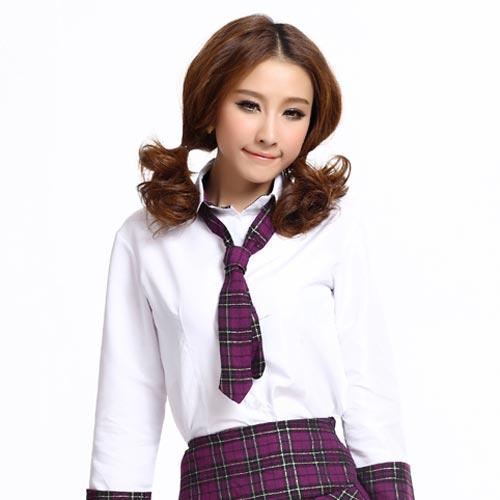 Korean School girl short Wavy Ponytail hairstyle