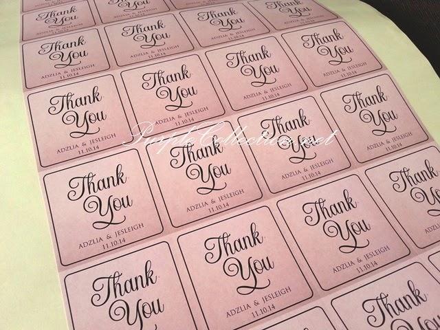 Sticker printing cetak thank you tag kraft colour material adzlia
