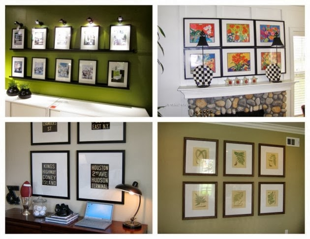 How to arrange pictures in small rooms Painting arrangements on wall