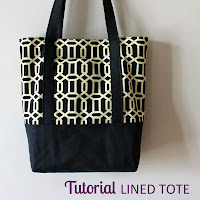 Tutorial: Lined Canvas Tote | Step by step directions how to sew a fully lined, canvas Tote Bag with an outer pocket and a reinforced bottom, including full cutting dimensions. | The Inspired Wren.