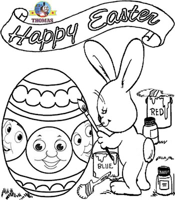 Preschool childrens Happy Easter coloring pictures of Thomas the train bunny Easter chocolates egg
