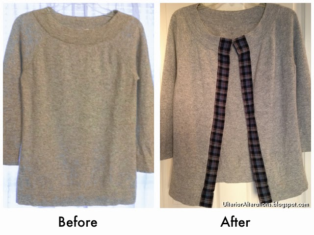 Ulterior Alterations Refashioned Grey Cashmere & Plaid Sweater