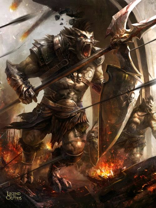 guicaimumu chinese artist illustrations fantasy card games Battle with orcs