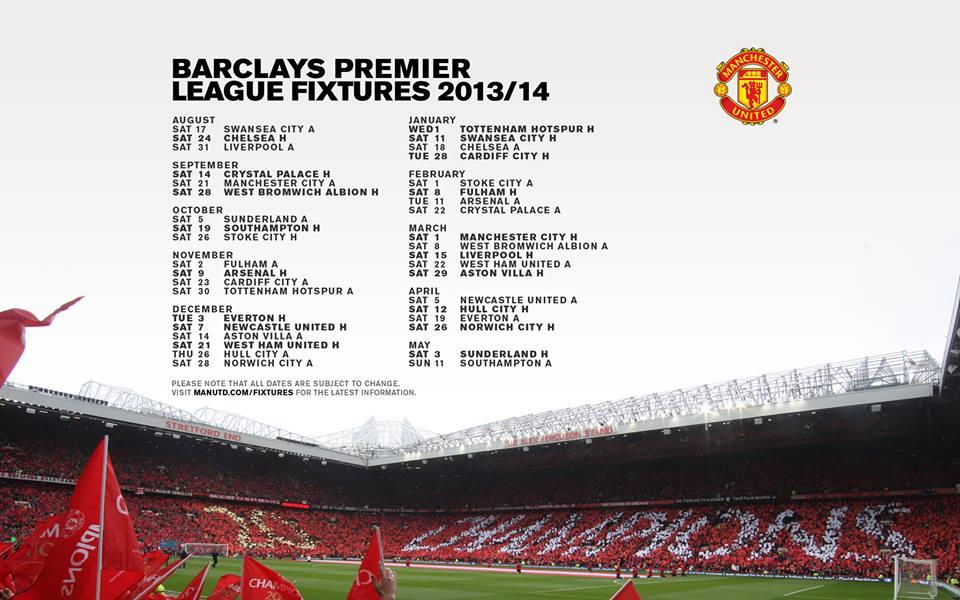Manchester United Premier League Fixtures 2013-2014
