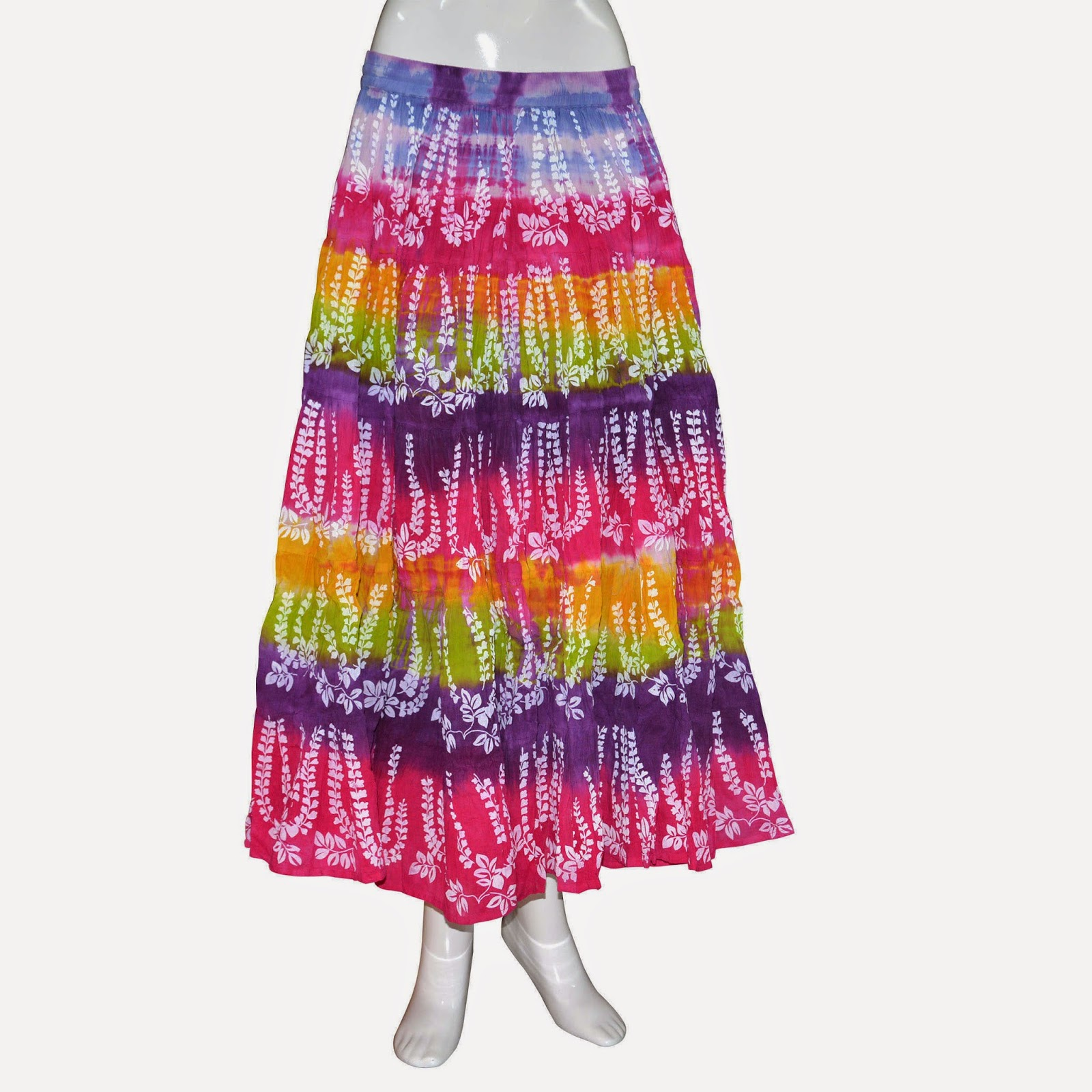 Handmade Cotton Lehariya Print, Elasticated Long String Skirt from India