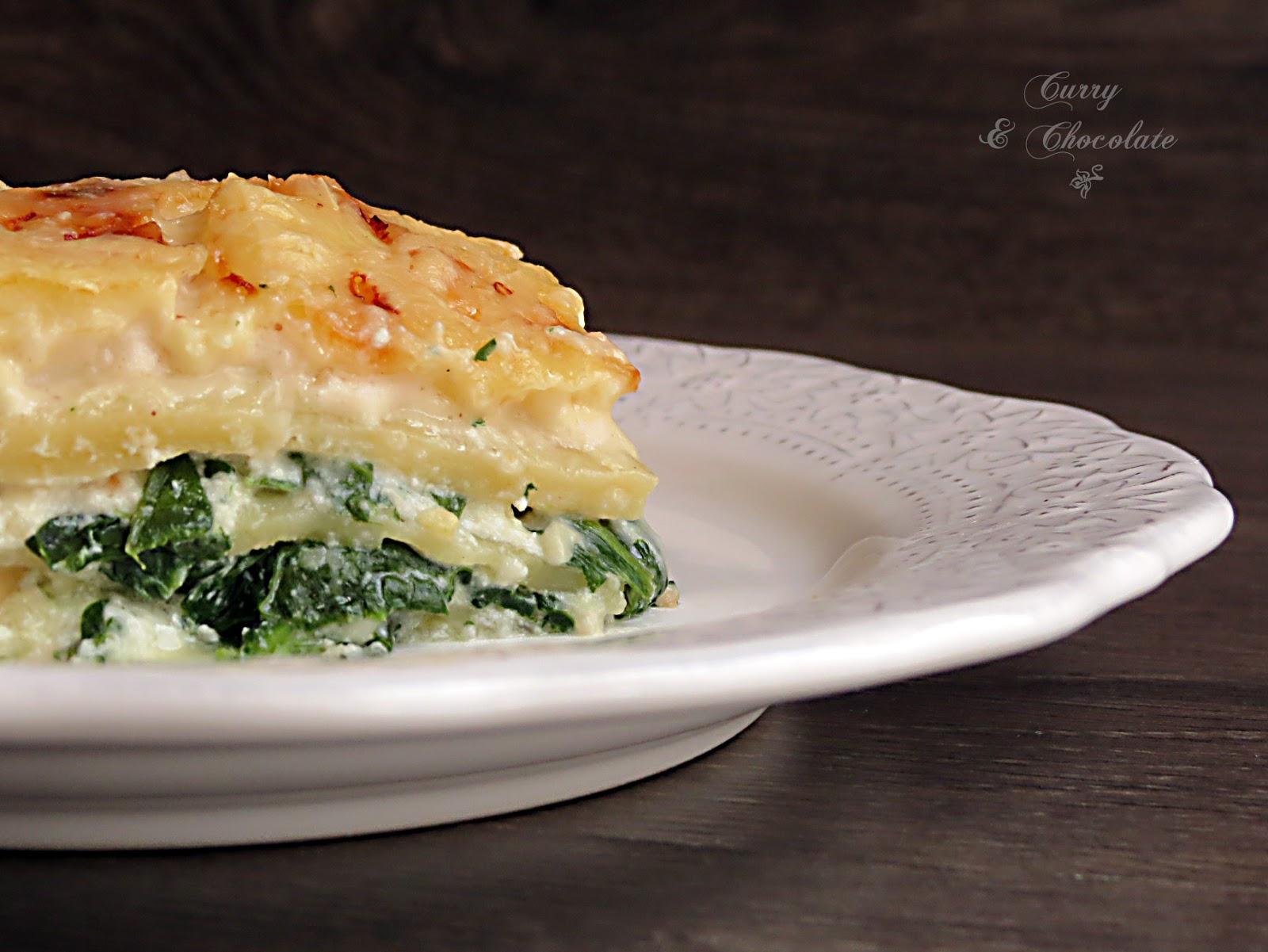 Lasaña vegetariana a los tres quesos con espinaca y piñones – Spinach and three-cheese lasagne with pine nuts