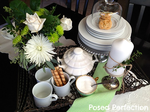Green & White Kitchen Table Vignette
