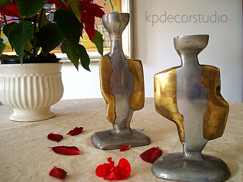 comprar candelabros antiguos de bronce y laton originales. Comprar escultura moderna