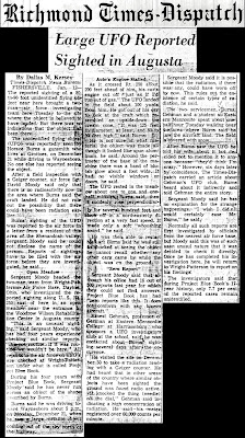 Large UFO Reported Sighted in Augusta  - Richmond Times-Dispatch 1-12-1965