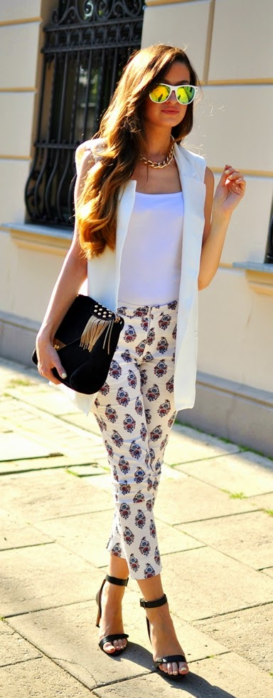Chic White Vest with Print Pant and Black Heels | Spring Street Outfits