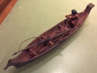Nootka canoe with harpoon