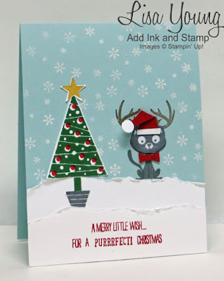 Stampin' Up! You Little Furball stamp set and Festival of Trees stamp set. Cat with antlers and santa hat. Christmas card for cat lovers. Handmade Christmas card by Lisa Young, Add Ink and Stamp