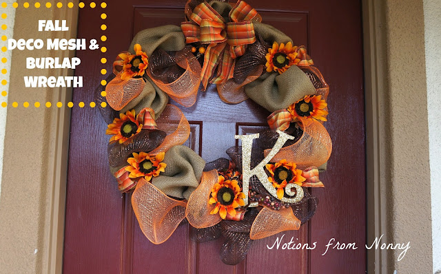 fall deco mesh & burlap wreath  Notions from Nonny