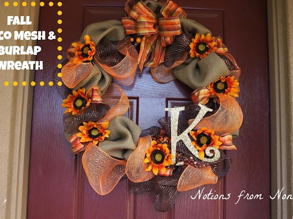 Fall Deco Mesh & Burlap Wreath