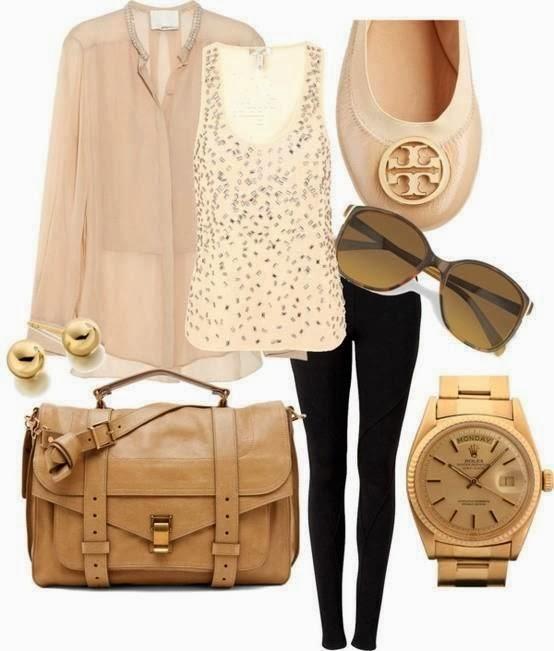 Cream colour dress, black skinnies, handbag and wrist watch dress combination
