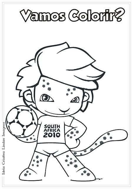 Desenho do Mascote da Copa de 2010 para colorir