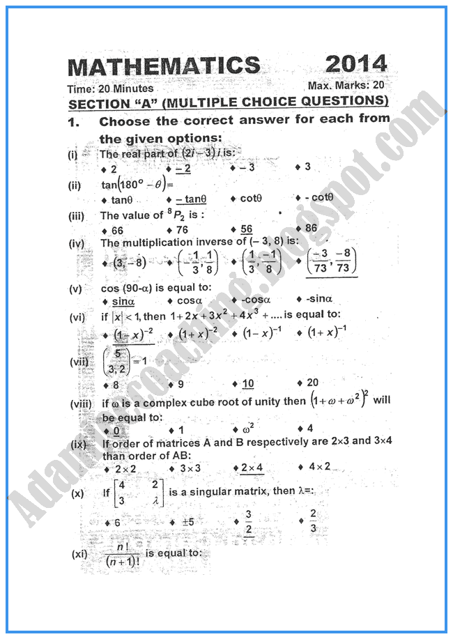 intermediate 1 past papers maths
