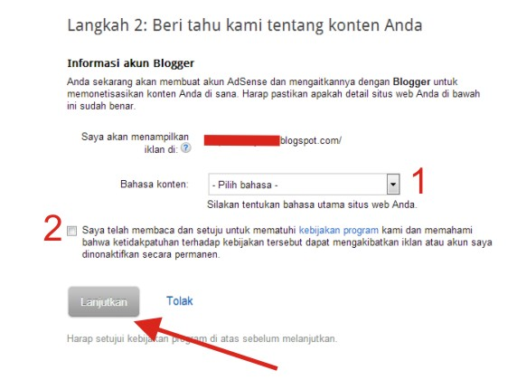 Cara Mendaftar di Google Adsense Tahap 3