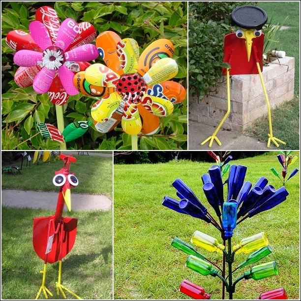 5 amazing garden art ideas from recycled materials idees for Garden decorations from recycled materials