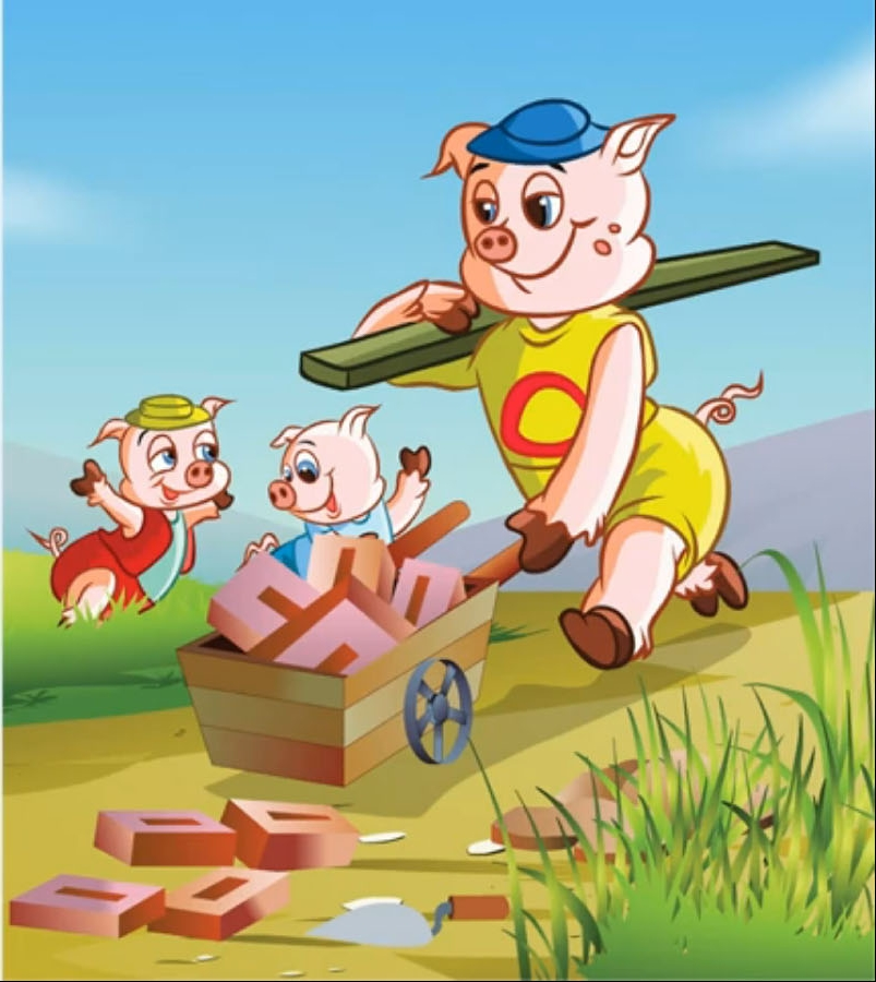 HAPPY PIGGY: THE THREE LITTLE PIGS House Made Of Sticks Cartoon
