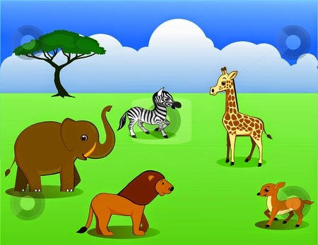 Gambar Mewarnai Anak Binatang Lucu