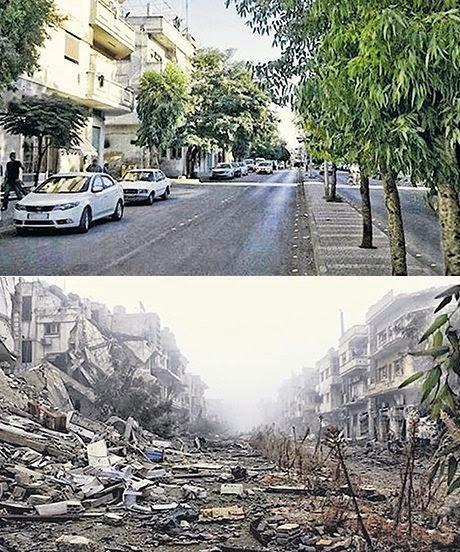 Улица в Хомс, през 2011 г. (по-горе) и 2014 г. (по-долу)