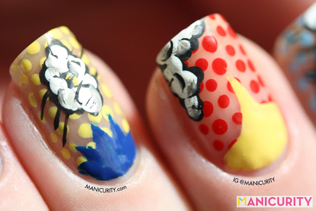 Manicurity | pop art inspired comic book freehand nail art