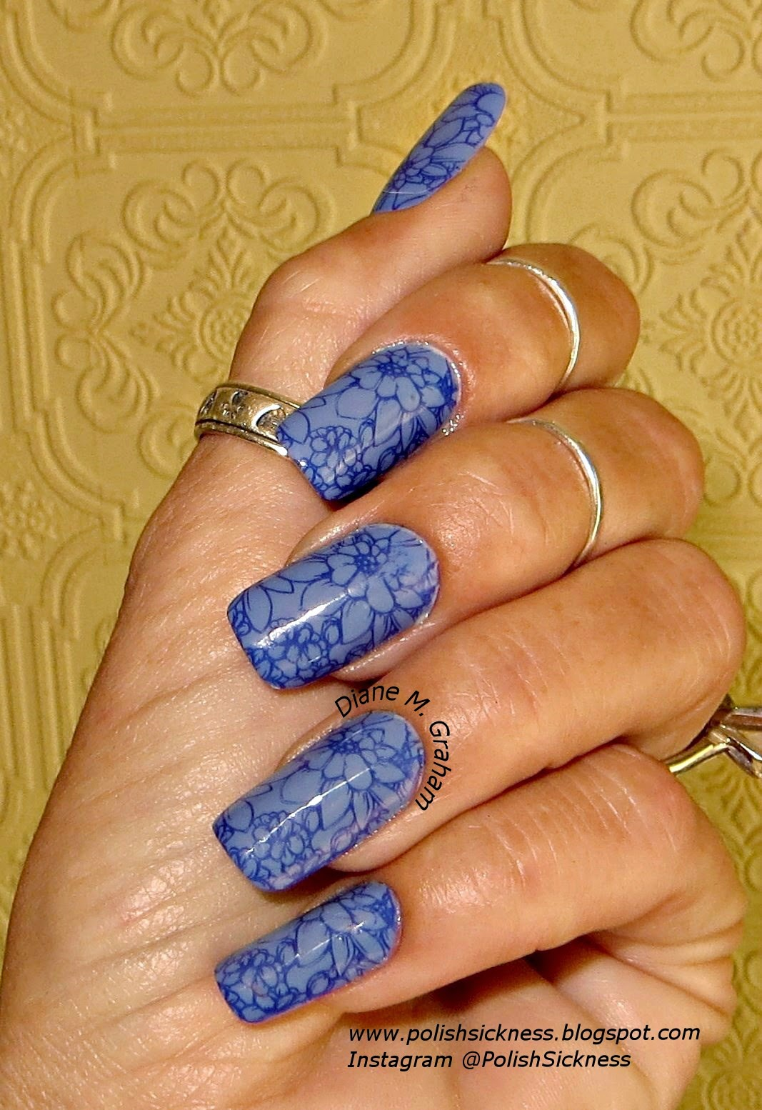 China Glaze Secret Peri-Wink-Le, Julep Char, MoYou Pro XL 06 stamp