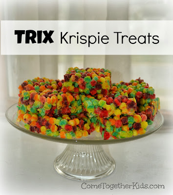 Trix Krispie Treats (colorful and perfect for a rainbow or tie-dye party)