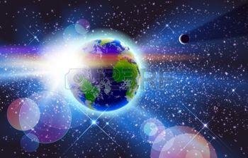 Hermoso planeta Tierra, el Sol y la Luna en el espacio.
