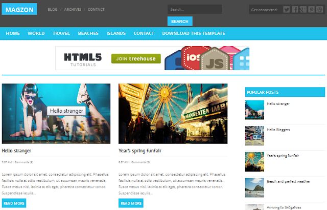 Magzon - Free Responsive Blogger Template Column