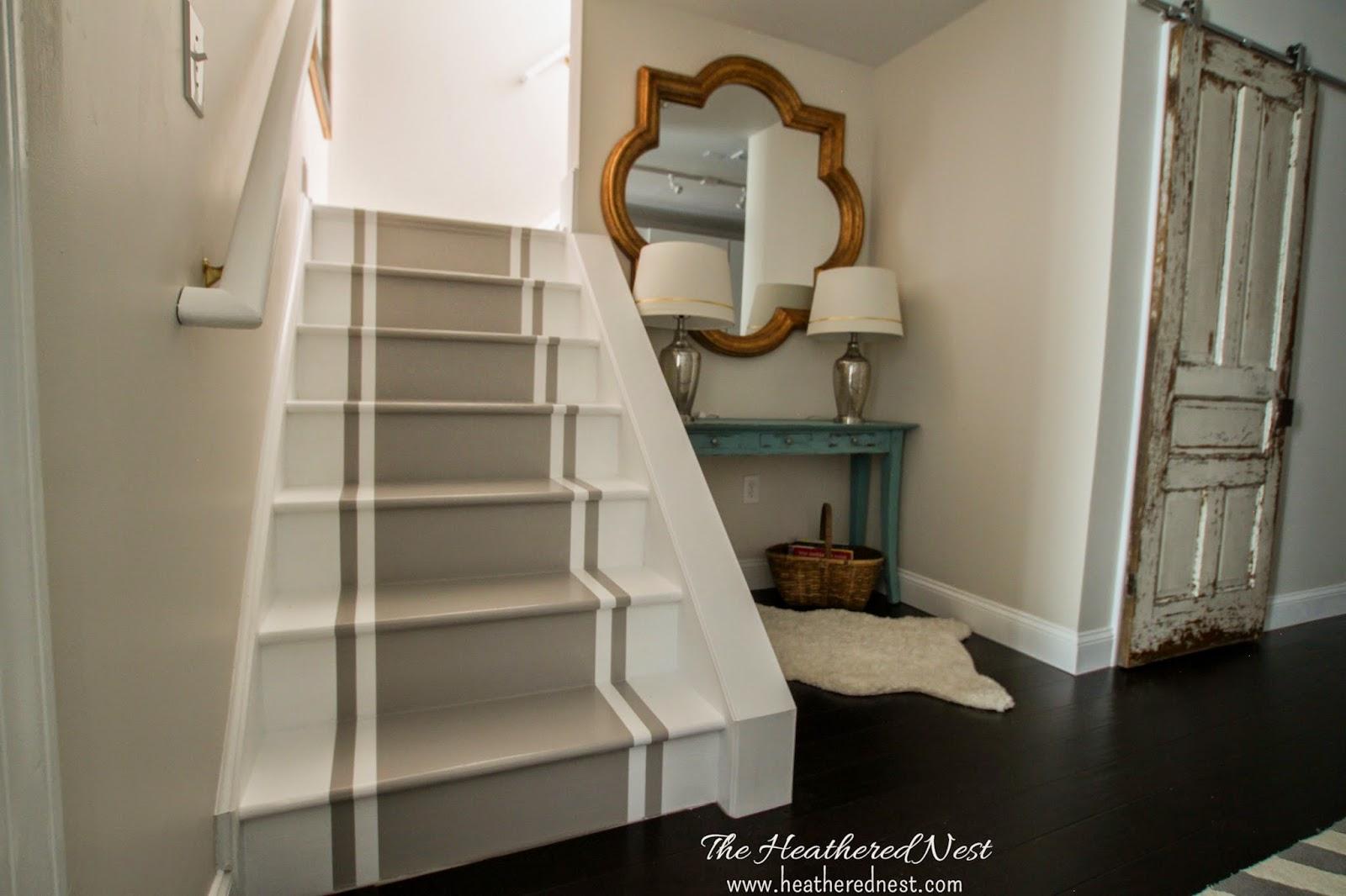 Painted Stripe Stairway Runner | Brightened Up Basement Stairway Makeover