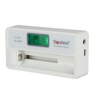 Soshine LCD Display Battery Charger for Li-ion 18650 14500 16340 NiMH AA AAA