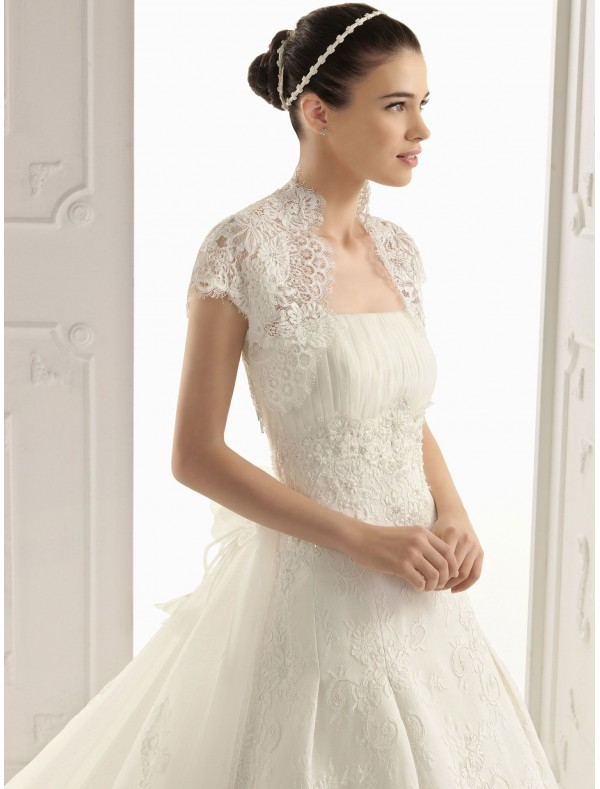 lace strapless wedding dress with short sleeves lace jacket