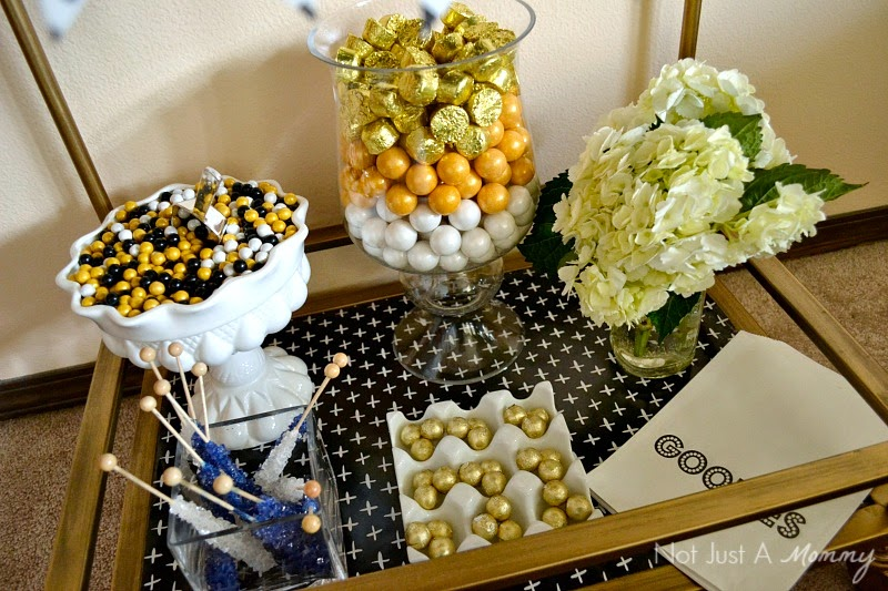 Black And White Graduation Dessert Bar with Whisker Graphics candy buffet