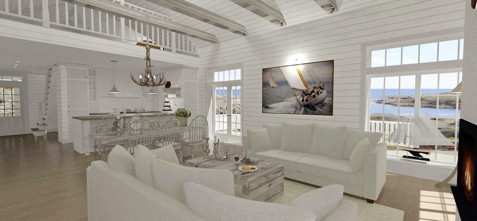 Den vita drömgården: synliga balkar, liggande panel   eller inte....