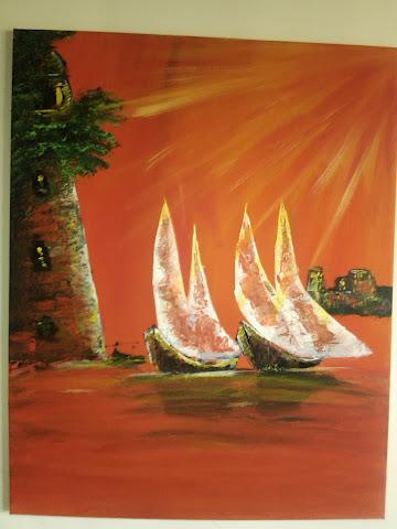quadro com barcos em acrilico