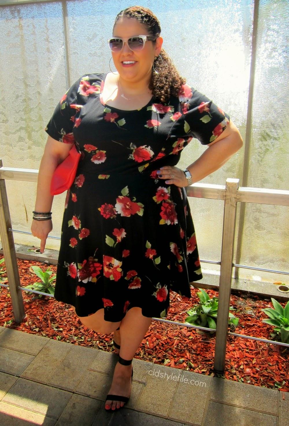 floral dress, skater dress, plus size fashion, american rag, macys, plus size dresses, c wonder sandals
