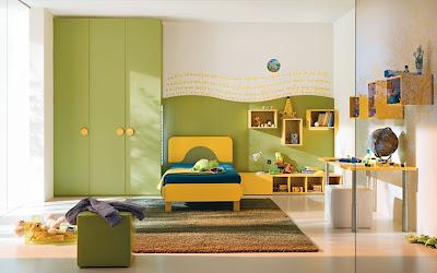 amarillo verde dormitorio infantil
