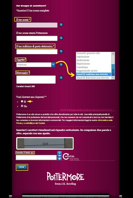Compilare il modulo di contatto dell'Assistenza