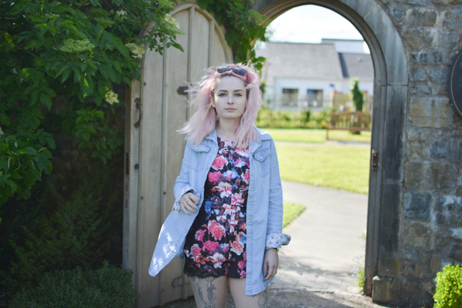 floral playsuit with denim shirt outfit