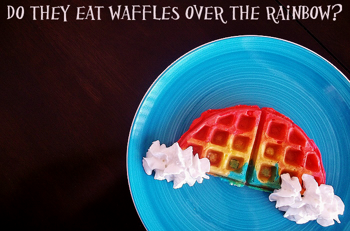 Rainbow Waffles for Color Education or St Patty's Day