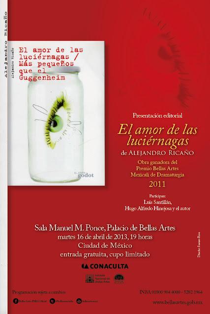 """Presentación del libro """"El amor de las luciérnagas"""" de Alejandro Ricaño en el Palacio de Bellas Artes"""