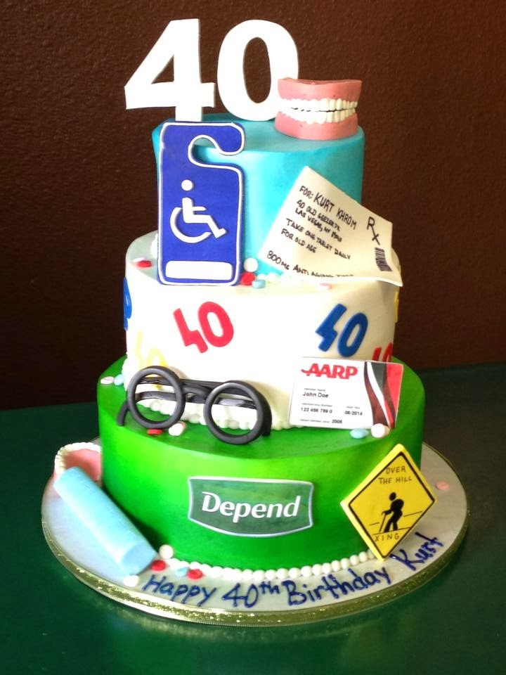 Funny Old 40th Birthday Cake