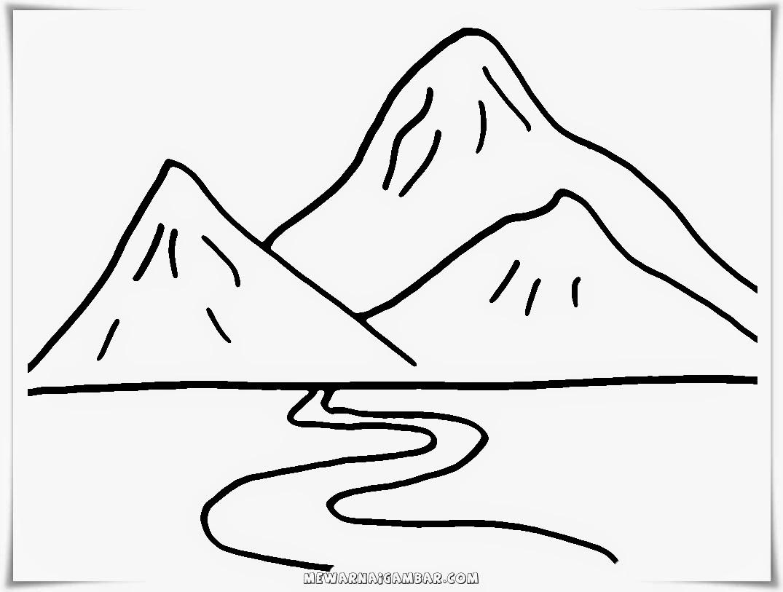 Mewarnai gambar gunung sederhana