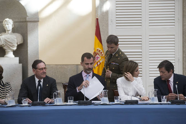 Queen Letizia of Spain and King Felipe VI of Spain attend a meeting with members of 'Princesa de Asturias' foundation at El Pardo Royal Palace