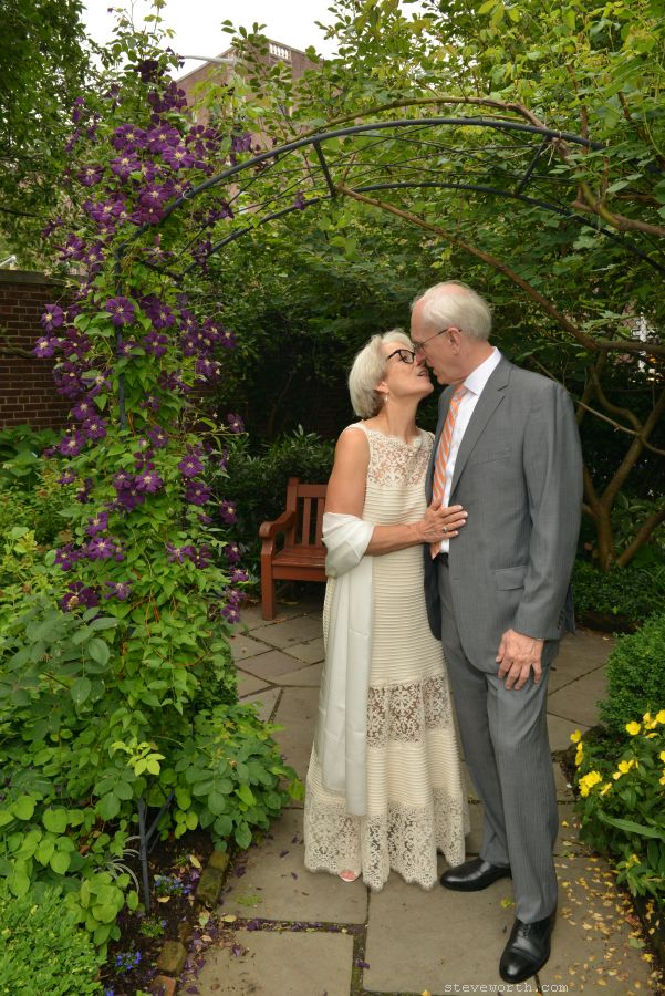 Bride and Groom in St Luke Garden NYC 487 Hudson Street