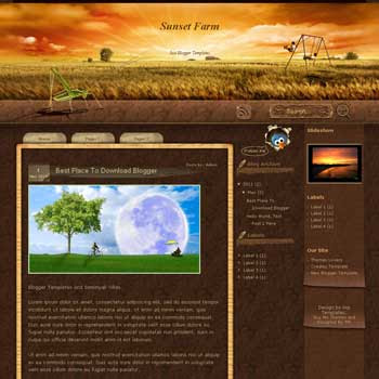 Sunset Farm Blogger Template. blogger template from wordpress theme. 3 column blogger template