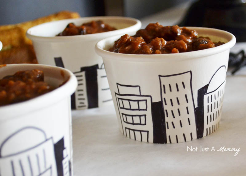 MARVEL's The Avengers: Age of Ultron Halloween Watch Party cityscape chili cups